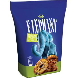 Elephant Squeezed Pretzels with Mixed Seed